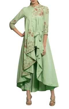 Spring green rayon moss knot hand embroidered draped cape with pants