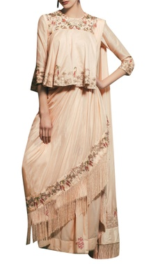 Peach chanderi & silk  hand embroidered draped sari with peplum blouse