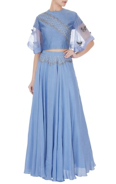 Eclat by Prerika Jalan Periwinkle blue silk chanderi honeycomb embroidered crop top with full umbrella skirt