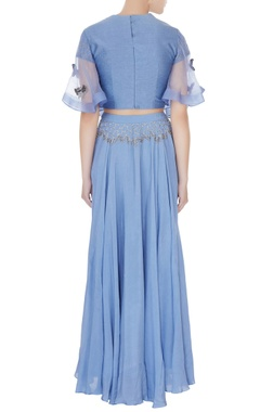Periwinkle blue silk chanderi honeycomb embroidered crop top with full umbrella skirt
