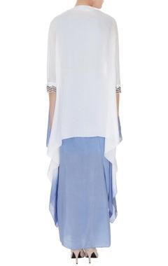 Periwinkle blue habotai silk & silk chanderi zardozi work draped skirt with crop top & zardozi draped jacket