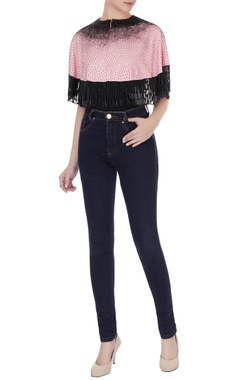 Eclat by Prerika Jalan Pink & black silk linen cutdana embroidered crop top