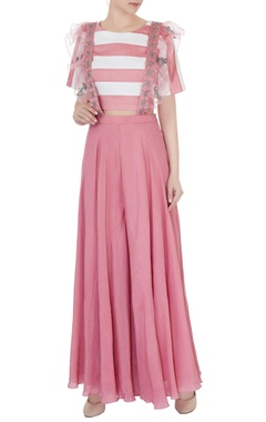 Eclat by Prerika Jalan Dull pink silk chanderi & crepe applique embroidered dungarees with striped crop top