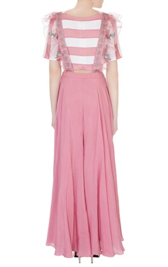 Dull pink silk chanderi & crepe applique embroidered dungarees with striped crop top