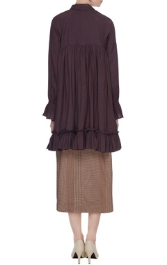 Wine & brown organic poplin frilled layered high-low dress