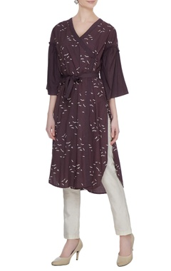 Wine organic poplin sparrow print angrakha with frilled sleeves & belt