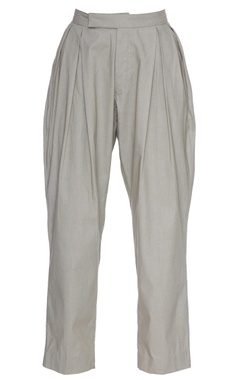 Olive grey organic poplin box pleated ankle length pants