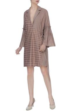 Brown organic poplin gathered sleeves angrakha dress