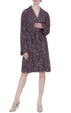 Wine organic poplin striped & sparrow print short trench coat