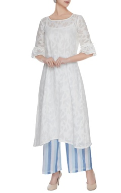 White cotton tunic with striped pants & slip