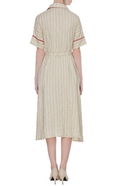 Off-white pintuck dress with tie-up belt