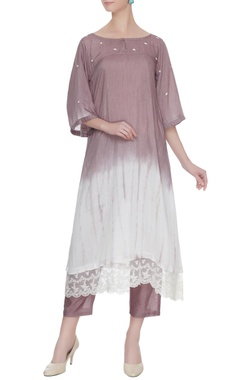 Red & maroon shibori dyed hand embroidered kurta with pants