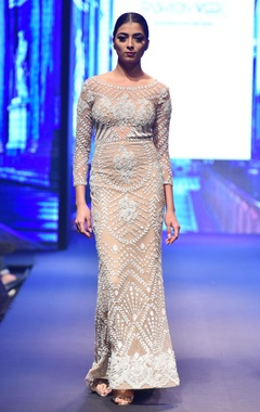 Nude-beige fitted long sleeve embellished gown