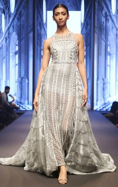 Reynu Taandon Grey & silver hand-finished embellished flared gown