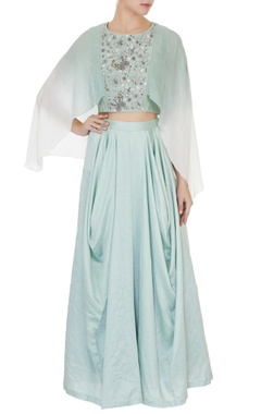 Eclat by Prerika Jalan Mint green crepe & silk chanderi ombre crop top with cowl pants