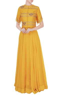 Eclat by Prerika Jalan Mustard yellow silk chanderi & georgette embroidered jacket & maxi dress
