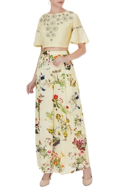 Eclat by Prerika Jalan Lemon yellow crepe & silk chanderi floral applique work crop top with pleated pants