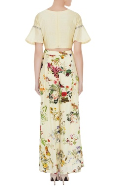 Lemon yellow crepe & silk chanderi floral applique work crop top with pleated pants