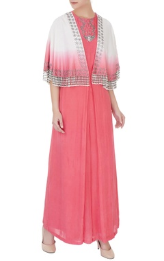 Eclat by Prerika Jalan Coral & off white silk chanderi & crepe zardozi jumpsuit with cape