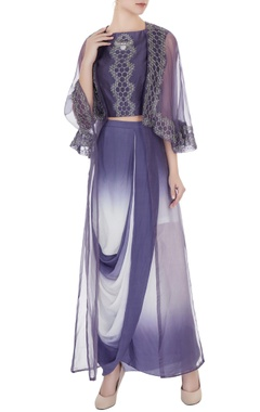 Eclat by Prerika Jalan Purple & off white crepe & silk chanderi honeycomb embroidery crop top with draped skirt & organza jacket