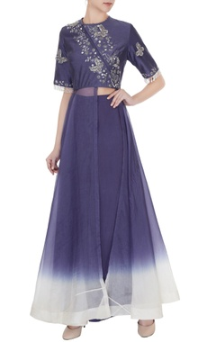Eclat by Prerika Jalan Purple crepe & silk chanderi embroidered jacket with pleated pants
