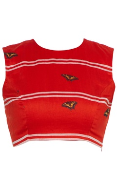 Red butterfly printed sleeveless blouse
