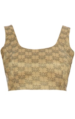 Beige-gold tussar silk lotus printed saree blouse