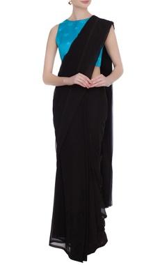 Blue cotton satin lycra sleeveless blouse