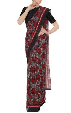 Multicolored floral printed handloom cotton sari