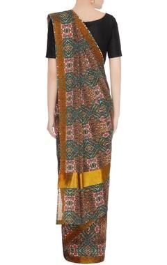 Multicolored handloom cotton leopard printed sari