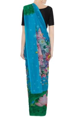Blue & green floral printed sari