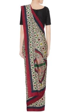 Multicolored tussar silk floral printed sari