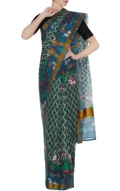 Multicolored handloom cotton floral printed sari