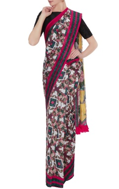 Pink & yellow floral printed handloom cotton sari