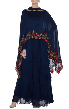 Aksh Navy blue georgette handkerchief hemline anarkali with chanderi embroidered cape