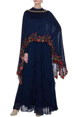 Navy blue georgette handkerchief hemline anarkali with chanderi embroidered cape