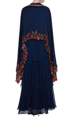 Navy blue georgette handkerchief hemline anarkali with chanderi embroidered cape