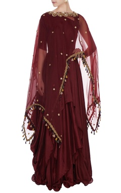 Aksh Burgundy silk pleated handkerchief silhouette anarkali with organza cape