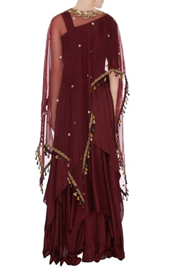 Burgundy silk pleated handkerchief silhouette anarkali with organza cape