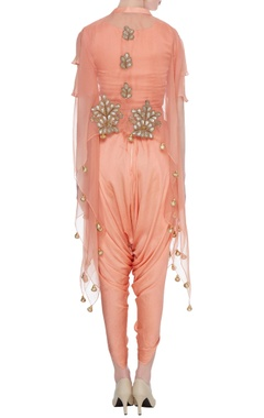 Peach satin crop top with dhoti pants & organza cape