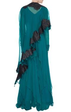 Teal green chiffon handkerchief hemline anarkali with applique cape