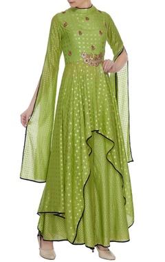 Aksh Forest green slub cotton handkerchief kurta set