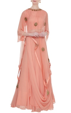 Aksh Peach georgette crop top with cowl layer lehenga & organza cape