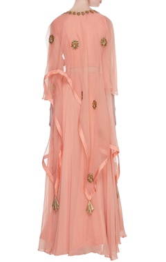 Peach georgette crop top with cowl layer lehenga & organza cape