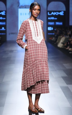 Divya Sheth Maroon hand spun & hand woven khadi chequered midi dress