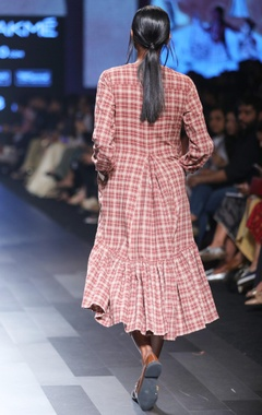 Maroon hand spun & hand woven khadi chequered midi dress