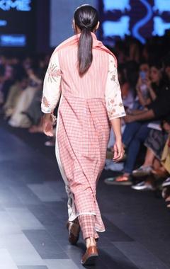 White & pink hand spun & hand woven khadi hand embroidered kurta