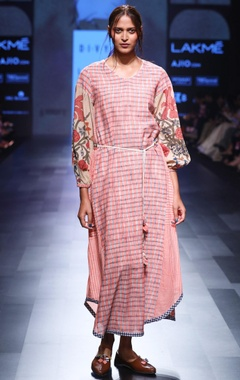Pink hand spun & hand woven khadi hand painted dress with belt