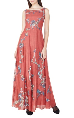 Coral hand embroidered maxi dress