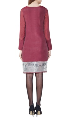 Wine handwoven jamdani shift dress